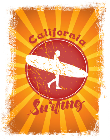 Surfing styled illustration with sunshine at the background. Vector