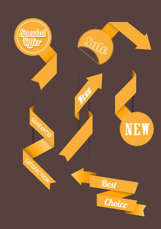 three orange: Set of origami paper stripes with place for your own text.  Illustration