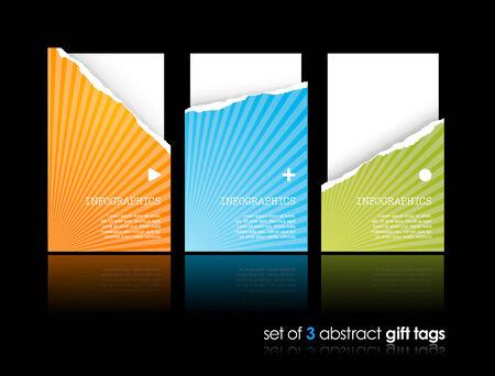 teared: Set of teared gift cards  Illustration