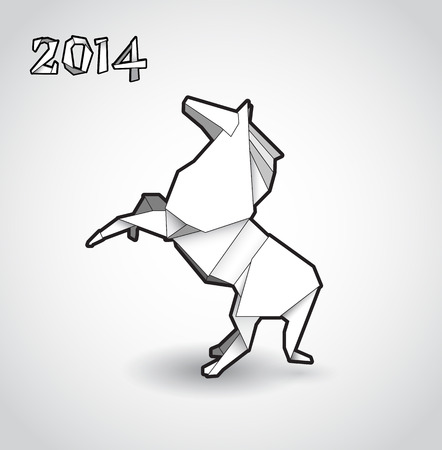 Oriental origami New year horse. Vector