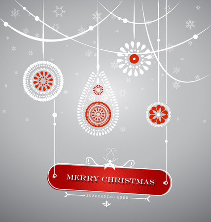 Christmas decoration with hanging plate with Christmas sign. Illustration