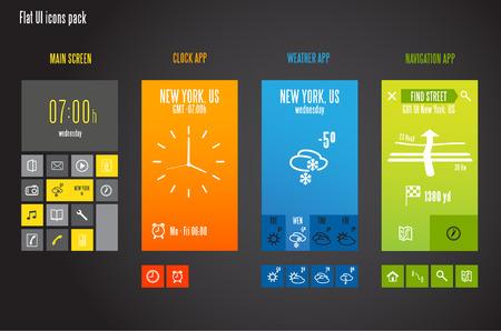 widget: Flat design template for mobile devices - Vector Illustration
