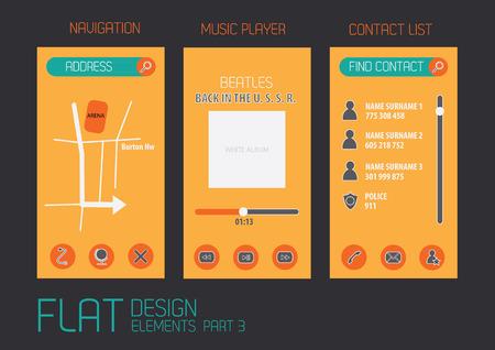 Flat design template for mobile devices - Illustration