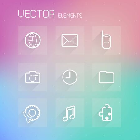 Simple flat design template with icons and symbols on tiled. Vector