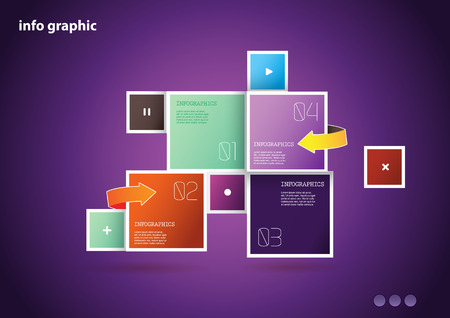 Flat design template with icons and symbols on tiled background. Vector