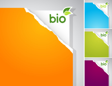 Set of teared papers with bio sign. Vector