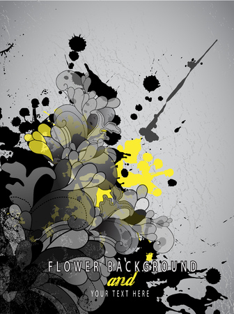 Abstract splash background with flower pattern and place for your text. Vector