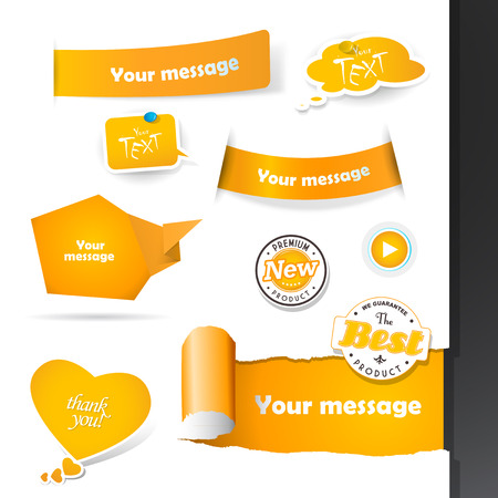 Set of orange labels and paper badges. Vector
