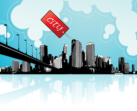 clouds scape: City scape with sky and clouds at the background and badge with place for your own text. Illustration