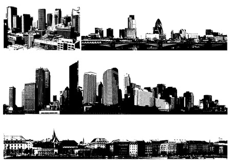 city building: Black and white panorama cities.