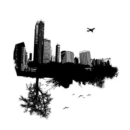 grunge tree: City combined with nature. Vector