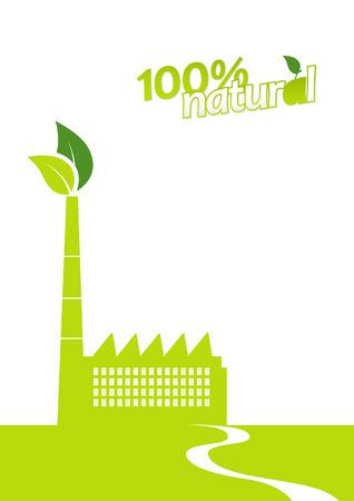 eco building: Ecology factory. Vector art