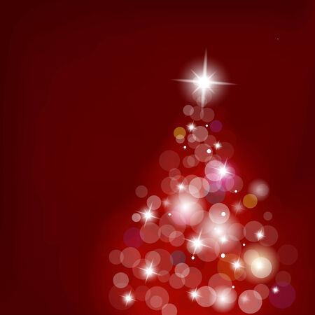 blurred lights: Christmas tree with blurred lights on red background.