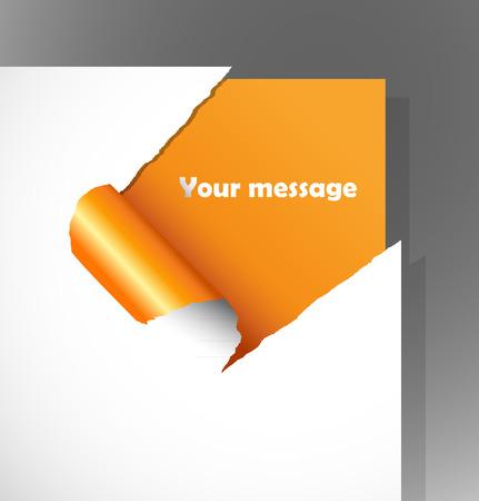 lagrimas: Papel teared con texto en la esquina. Vectores