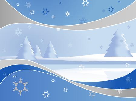 happy seasonable: Winter landmark with abstract frame.