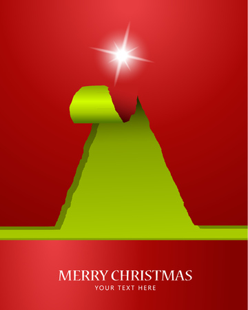 teared: Christmas tree of teared paper with star on the top Illustration
