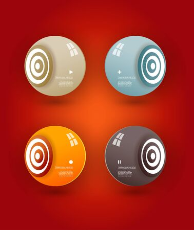 Four colored speakers with place for your own text. Vector
