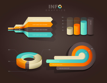 brown design: Set of vector flat design infographics statistics charts and graphs - on brown background Illustration