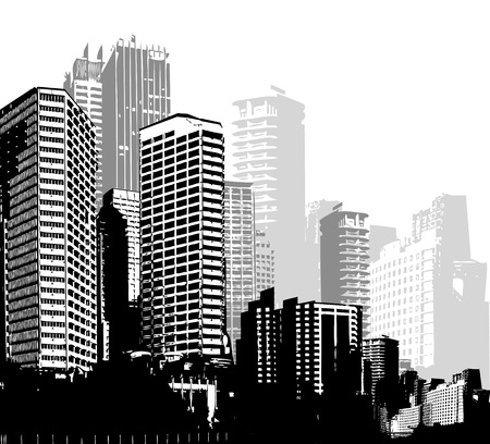 black grunge background: Black and white panorama cities. Vector art