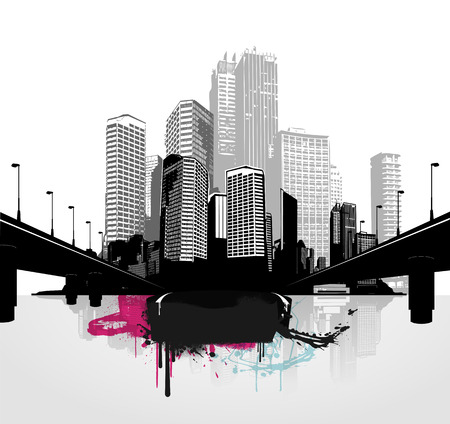 funky: Black and white panorama cities. Vector art