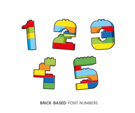 shiny: Brick numbers created from brick based alphabet series.
