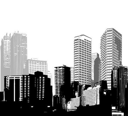 side effect: Black and white panorama cities. Vector art