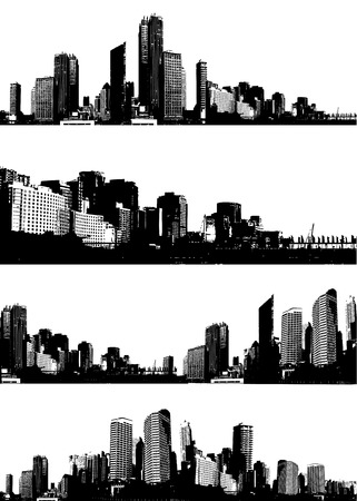 panorama city: Set of black and white panorama cities. Vector art Illustration