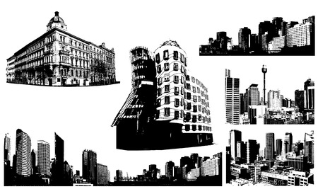architecture: Set of black and white panorama cities. Vector art Illustration