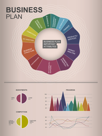 inforgraphic: Inforgraphic business plan template for your upcoming business. Illustration