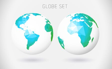 map of america: Set of vector globes - polygonal style