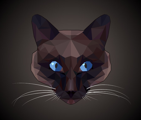 triangular: Dark cat with blue eyes - polygonal style.