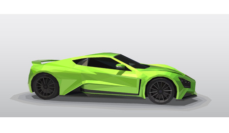 Green sport car - polygonal style. Illustration