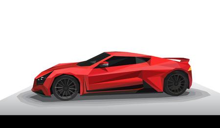 Red sport car - polygon style. 向量圖像