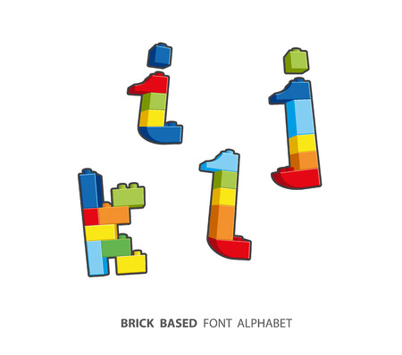 lower case: Alphabet set created from playing bricks. Lower case letters