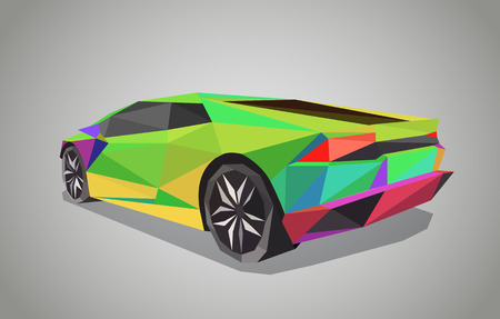 low tire: Colorful sport car on green background - polygonal style.