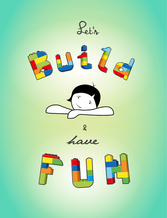 have fun: Build and have fun text created from bricks. Illustration