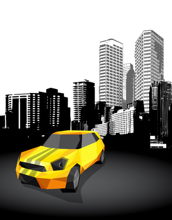 side effect: Yellow small sport car with cityscape at the background - polygonal style. Illustration
