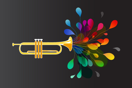Gold trumpet with abstract colorful flowers on dark background.