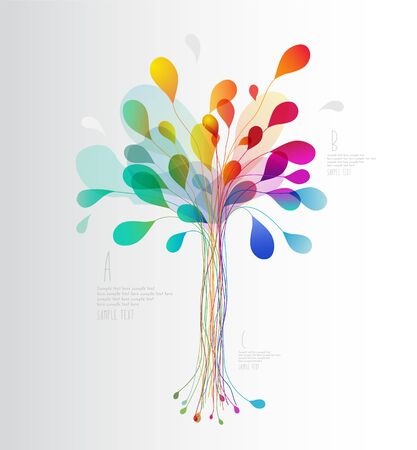 Árbol colorido creado de líneas y hojas. Ilustración de vector