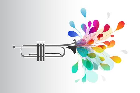 Gold-Trompete mit abstrakten bunten Blumen auf hellem Hintergrund. Vektorgrafik
