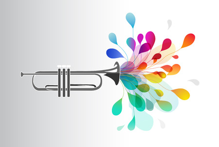 Gold trumpet with abstract colorful flowers on light background.