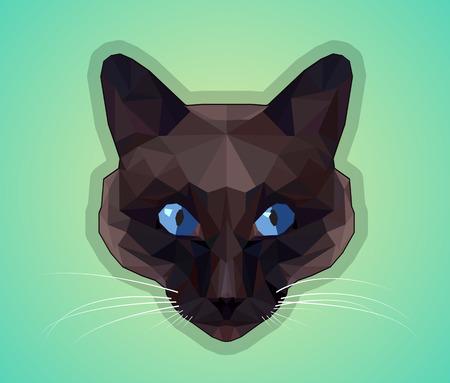 dark eyes: Dark cat with blue eyes - polygonal style.