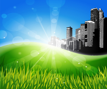 city background: Meadow with sunlight and city at the background. Illustration