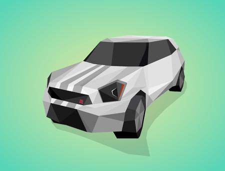 aerodynamic: Grey sport car on green gradient background - polygonal style.