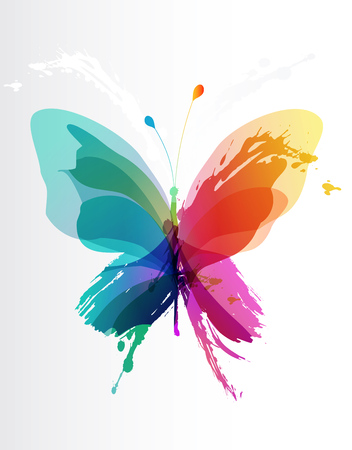 Colorful butterfly created from splash and colored objects. Stock Illustratie