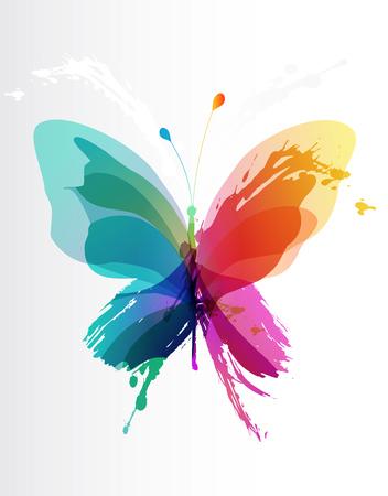 mariposa: mariposa de colores crea a partir de salpicaduras y objetos de colores.