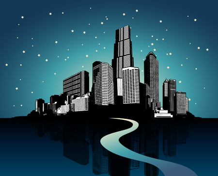side effect: Cityscape with reflection on water at night. Illustration