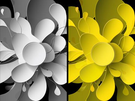 Conjunto de fondos abstractos con flores de papel.