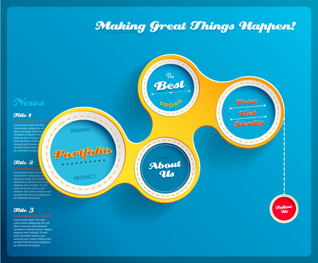 web design background: Web design template with circles on blue background. Vector Illustration.