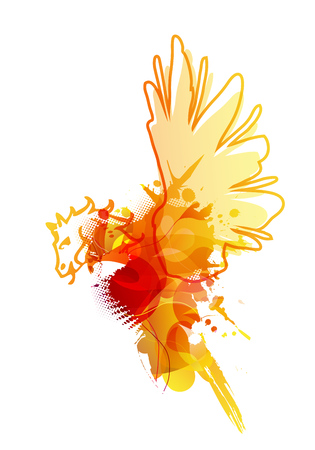 reminding: Abstract colorful splash illustration reminding bird with horse head.